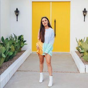 Oversized Rainbow Sweatshirt Dress